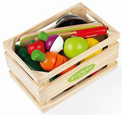 Janod GREEN MARKET FRUITS & VEGETABLE MAXI SET Pretend Play Activity Toy BN • 29.99£