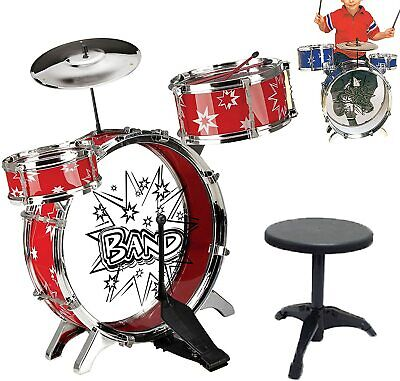 Kids Drum Kit Jazz Band Sound Drums Play Set Musical Toy With Stool Xmas Gift UK • 12.99£