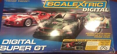 Scalextric Extended 3 Car Digital Super Gt Set In Good Used Condition • 140£