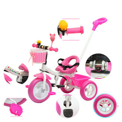 Kids First Trike Children Tricycle Bicycle Parent Handle Push 3 Wheels Bike Toy • 29£
