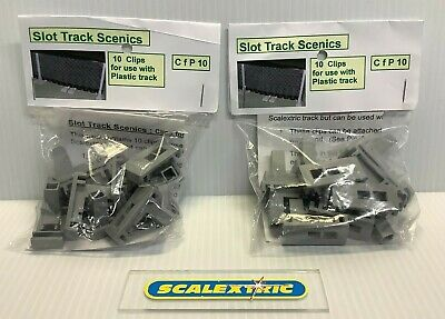 SLOT TRACK SCENICS CFP10 10 Fixing Clips Plastic Track For Scalextric (2 PACKS) • 10.99£