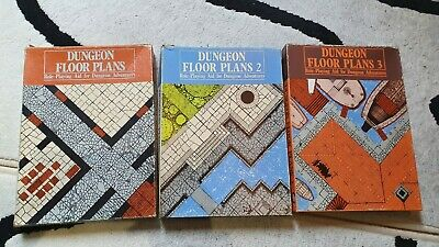 Dungeon Floor Plans 1-3, AD&D TSR Dungeons And Dragons Map Tiles • 25£