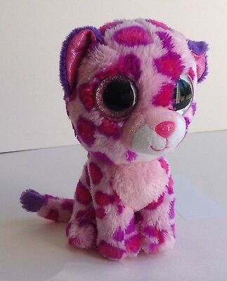 TY Beanie Boo Hot Pink Glamour Leopard Pink Glitter Eyes Cute  Soft Toy Plush 6  • 3.75£