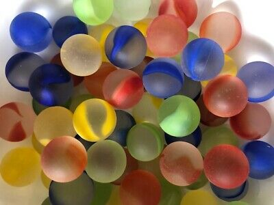 20 X 13mm FROSTED RAINBOW GLASS  MARBLES-Traditional Children's Game/Party Bags • 2.40£