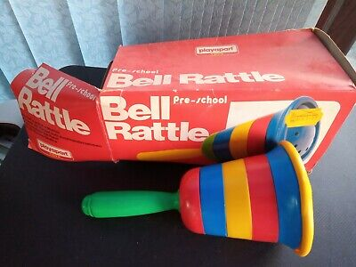 Vintage Multi Coloured Bell Rattle Childrens Toy 1970s/80s Playcraft (no Rattle) • 4£
