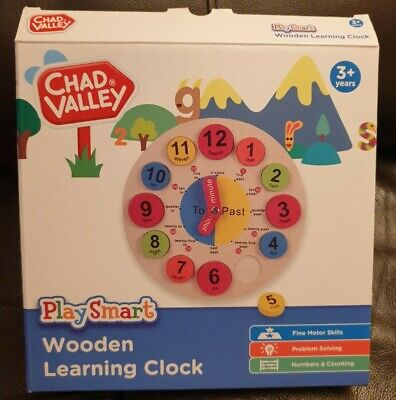 Chad Valley. Wooden Learning Clock. Barely Played With 3+ Yr Box Good Condition. • 4£