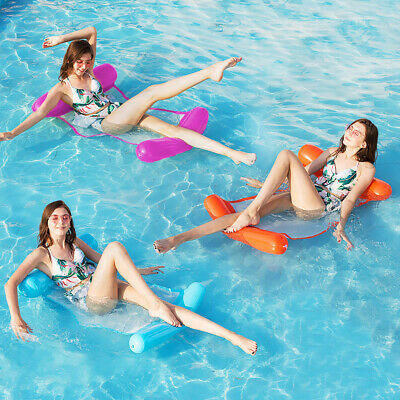 Blue Inflatable Floating Float Water Hammock Swimming Pool Lounge Bed Chair • 3.39£