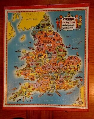 Educational VINTAGE WOODEN Victory Jigsaw - Industrial Life In England And Wales • 10.50£