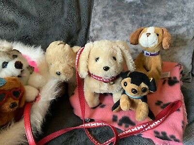 BUILD A BEAR Dog Bed Bundle. 7 Toy Dogs - Some Walk & Bark/With Leads & Blanket • 2.79£