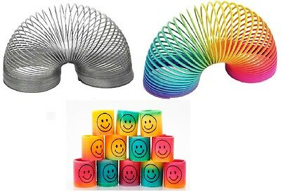 Slinky Rainbow & Silver Spring Toy Bouncy Childrens Stocking Filler Xmas Gift • 2.99£