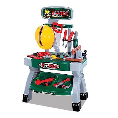 Childrens Work Bench Kids Play Set With 45+ Tools Diy Tool Kit Construction Toy • 19.99£