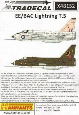 Xtradecal X48152 1/48 BAC/EE Lightning T.5 Model Decals • 8.29£