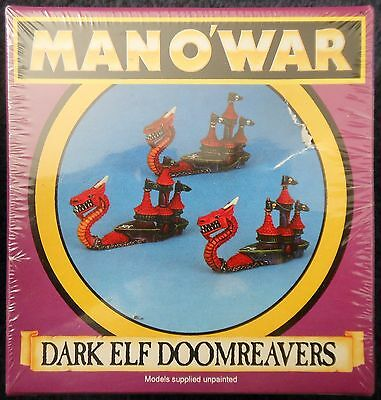1993 Man O' War Dark Elf Doomreaver B Games Workshop MOW Elven Ship Fleet Galley • 55£