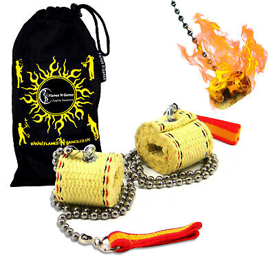 Fyrefli Channel Fire Poi - Classic Fire Spinning Poi 2 X 45mm Wick + Travel Bag  • 29.94£