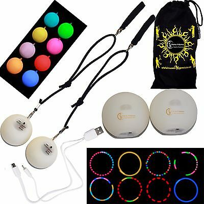 Multifunction LED Spinning POI Rechargeable With Micro USB Charging Cable + Bag • 52.99£