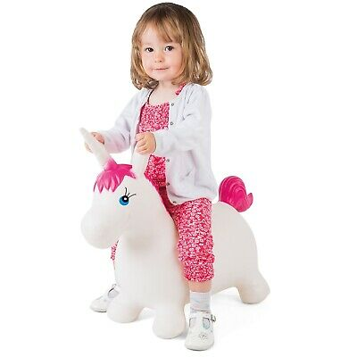 Bouncy Unicorn Hopper Kids Inflatable Hopper Ride On Bouncer Toy With Pump • 14.99£