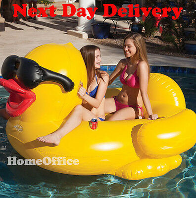 Large Inflatable Yellow Duck Includes Pump - Holiday Water Pool Etc • 66.88£