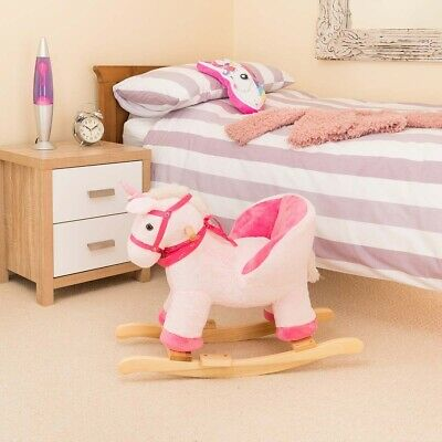 Plush Unicorn Toddler Baby Rocker Wooden Rocking Horse Ride On With Seat Chair • 44.99£