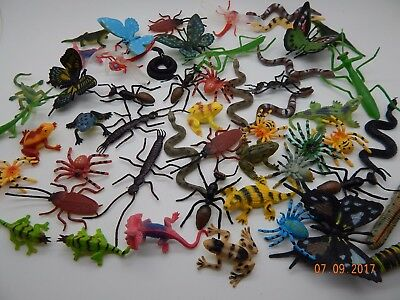 12 Mini Plastic Insects Bugs Butterflies Frogs Caterpillar Spiders Educational  • 5.75£