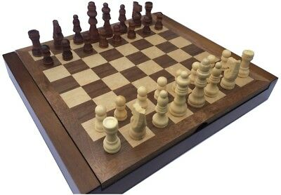 CLASSIC CHESS BOARD AND MEN WITH FOLDING COMPARTMENT TO STORE PIECES(24cm By 21) • 11.99£