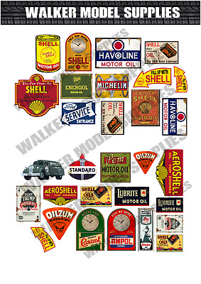 1:18 Scale Pre-cut Vintage Style Garage Sign Matte Stickers Model 3 • 5.95£