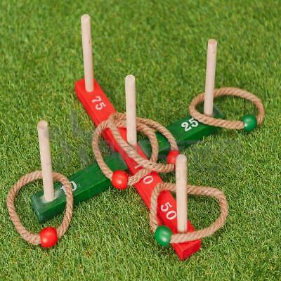 Garden Quoits Ring Toss Rope Pegs Hoopla Wooden Outdoor Indoor Family  Fun Game • 8.94£