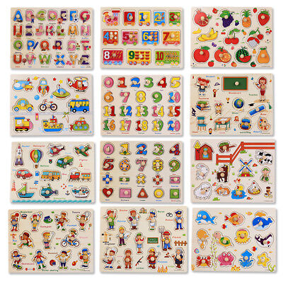 Baby Kids Wooden Animal Puzzle Jigsaw Early Learning Preschool Educational Toy • 3.78£