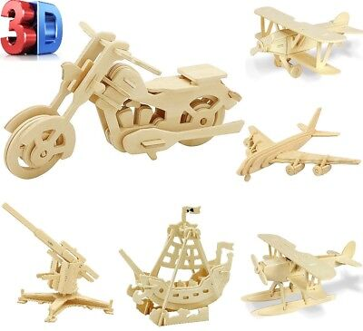 3D Woodcraft Wooden Construction Kit Wooden Model Bike Jigsaw Puzzle Kids Toy • 3.79£