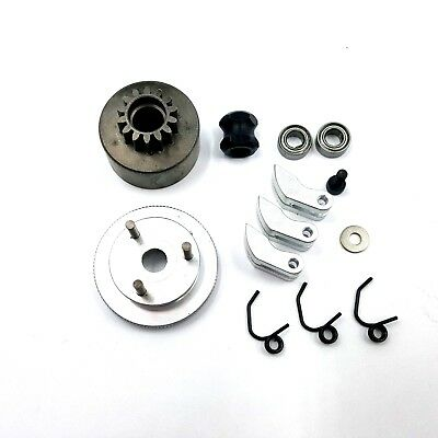 Clutch & Flywheel Kit For .21 1/8 RC Nitro Buggy /Car 14T Alloy Shoes / Bearings • 15.99£