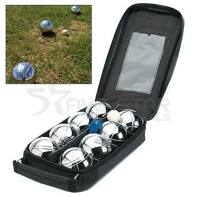 8 French Ball Stainless Steel Boules Set Petanque Outdoor Carry Case Garden Game • 19.94£