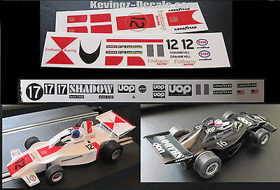 1/32 Scale Decals For Scalextric Shadow DN1 Cars - 3 Variations • 4£