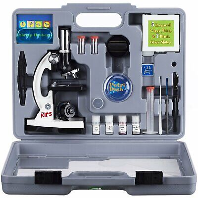 AmScope 52pc 120X-1200X Starter Compound Microscope Science Kit For Kids (White) • 41.99£