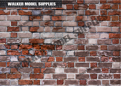 1:6 Scale (3xA4) Brick Wall - Peel And Apply Sticker/ Diorama Model 5 • 8.95£