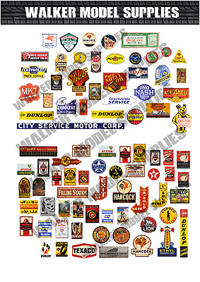 1/43 Scale Pre-cut Vintage Style Garage Sign Stickers Diorama/model Car. 2 • 5.95£