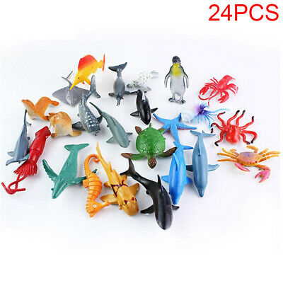 24 Plastic Ocean Animals Figure Sea Creatures Model Kid Toy Dolphin Turtle Whale • 7.98£