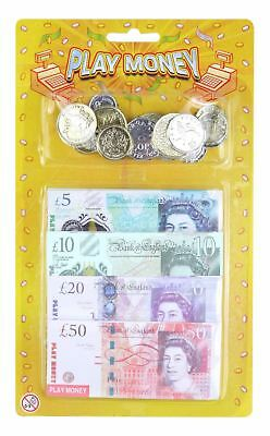 Kids Childrens Fake Pretend Role Play Money Pound Coins Notes Cash Shops Toy  • 2.25£