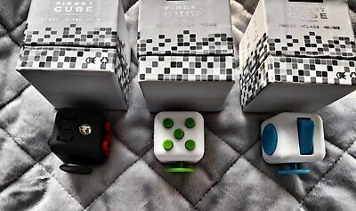 Set Of 3 Fidget Cube Red Green Blue ADHD Stress Anxiety  • 8.99£