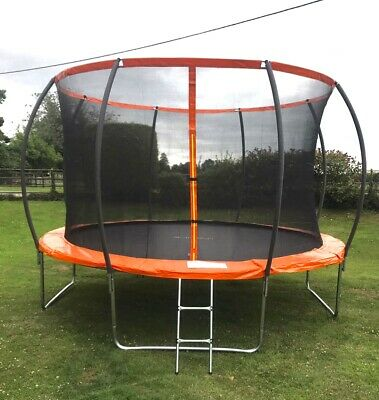 12FT Pumpkin Trampoline With Internal Safety Net Enclosure Ladder And Rain Cover • 199.95£