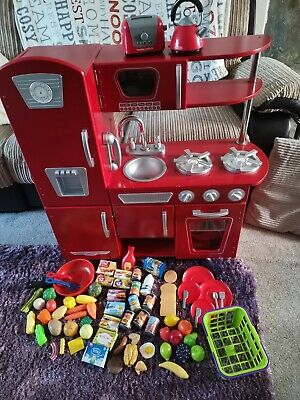 KIDKRAFT Red And Silver Wooden Kitchen With Play Food Included • 80£