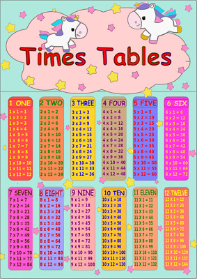 Times Tables Poster Maths Wall Chart Multiplications Educational Unicorn Theme • 2.99£