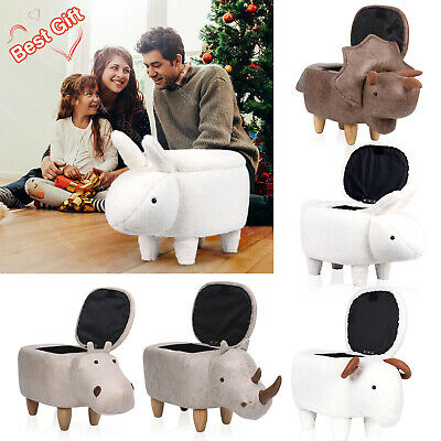 Animal Shape Stool Storage Footrest Kids Padded Seat Toy Wooden Legs Gift Room • 20.90£