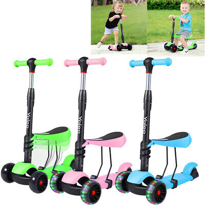Kids 3 In1 Mini Kick Wheel Scooter Flashing LED Wheels With Removable Seat  • 23.58£
