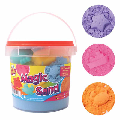 Sand Magic Play 1kg Play Carry Tub Set Sand 6 Moulds Squeeze Sand With Tools • 7.99£