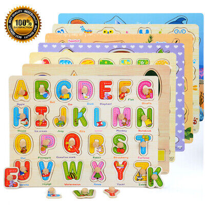 Wooden Puzzle Baby Kids Toddler Jigsaw Alphabet Letters Animal DIY Learning Toys • 3.98£