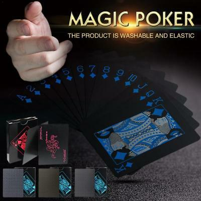 UK Waterproof Deck Of Plastic Playing Cards Collection Black Diamond Poker Games • 6.25£