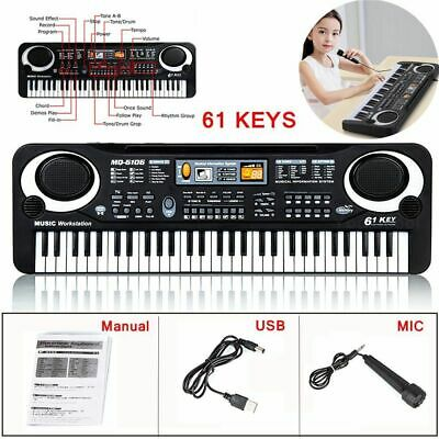61 Keys Digital Music Electronic Keyboard Electric Piano Organ Microphone Set • 9.99£
