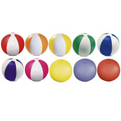 10 X 9  Beach Balls Inflatable Blow Up - 6 Panels Red, Blue, Green, Yellow Mixed • 4.99£