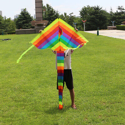 Long Tail Rainbow Triangle Nylon Kite Easy Fly Children Funny Toy Gift Sport • 6.19£