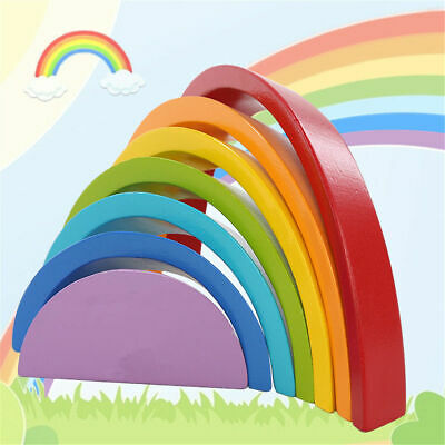 7 Colors Wooden Stacking Rainbow Shape Child Kids Educational Toy Christmas Gift • 12.49£