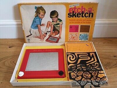 Denys Fisher ETCH-A-SKETCH 1970's Boxed With 3 Plastic Game Inserts • 20£